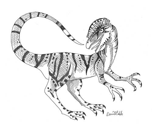 Dilophosaurus Drawing